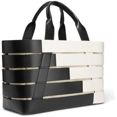 Balenciaga Stripes Cabas small paneled leather tote (2,845 CAD) ❤ liked on Polyvore featuring bags, handbags, tote bags, leather handbag tote, black and white striped tote, striped tote, travel tote bags and leather handbags
