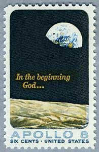 """In the beginning God..."" Apollo 8 stamp."