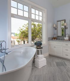 The floor tile is Solto White Marble. Master Bathroom Brandon Architects, Inc. Vinyl Flooring Bathroom, Bathroom Vinyl, Master Bathroom, Bathroom Ideas, Master Bedrooms, Stand Alone Tub, Beach House Decor, Home Decor, Bathroom Styling