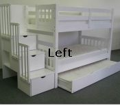 $775 bunk bed king Stairway Bunk Bed + Trundle - White Left- can be separated into two twin size beds
