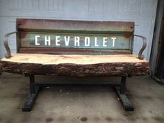chevy truck with wood tailgate | Chevy truck tailgate bench. Like the wood slab on this one.
