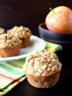Peanut Butter Apple Muffins | www.chocolatewithgrace.com | #apple #muffin #recipe  going to try pure maple syrup instead of agave nectar
