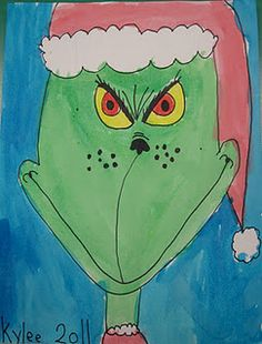 The Grinch, holiday art lesson