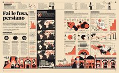 Infographic spread from IL — Intelligence in Lifestyle design by Francesco Franchi Information Visualization, Data Visualization, Information Design, Information Graphics, Creative Infographic, Magazine Layout Design, Newspaper Design, Learning Italian, Editorial Design