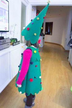Disfraz Casero de Árbol de Navidad Infantil