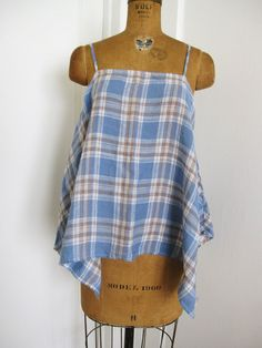 "CP SHADES NWT PLAID LINEN ""SIA"" TOP Sz. SMALL / MEDIUM #CPSHADES #Spaghettistrapasymetricalhemlinetop #All"