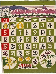 ¤ 1964-04 SERIZAWA, Keisuke (1895-1984). April. 1964.katozome japanese calendar