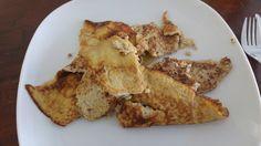 Bananenpannenkoek met kaneel. Tip met bakken. Houd de pannenkoeken klein want anders zijn ze niet te draaien in de pan. Zie foto