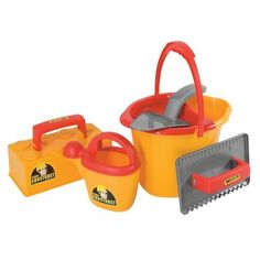 """Toy Construction Tool Set by One Step Ahead. $19.95. Little builders can't keep their hands off our six-piece construction tool set! Includes realistic, functional bucket with sieve, watering can, trowel, brick mold, and hand float. Great in the sand box and for snow play, or use with mud mixtures, play """"cement"""" and more. For ages 1 and up. Take construction play to a whole new level, with our thrilling, working toy construction equipment and tools! They're rug..."""