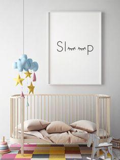Print slapen wimpers Print slaap kunst aan de muur