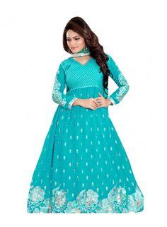 Light Blue 60 gm Georgette Anarkali Suit Salwar Suit
