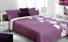Modne narzuty fioletowe dwustronne z motywem kwiatowym