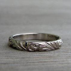 Recycled 950 Palladium Scroll Patterned Wedding Band or Stackable Ring, If this had black down in the grooves....