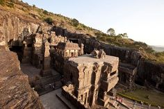 Ellora Caves: These 34 monasteries and temples, extending over more than 2 km, were dug side by side in the wall of a high basalt cliff, not far from Aurangabad, in Maharashtra. Ellora, with its uninterrupted sequence of monuments dating from A.D. 600 to 1000, brings the civilization of ancient India to life. http://whc.unesco.org/en/list/243