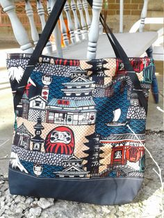 Asian inspired Zipper tote, Asian travel Tote, Zipper Tote Bag, Trip Zipper Tote,  Oversize Asian Travel Tote, Bag, Overnight Bag, by PandenteDesigns on Etsy