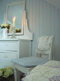 blue and white, love the soft blue color and the painted wood walls