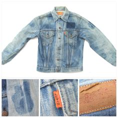 "Rare Levi's Big E 1969 orange tab Type III denim jacket just in. Beautifully soft, distressed denim, 36"" chest. Love the 'ghosts' of the old patches, two remain inside the chest pocket and come with the jacket!"
