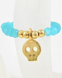 Gold Tone / Turquoise Glass Crystal / Lead Compliant / Halloween / Skull Charm / Stretch Ring