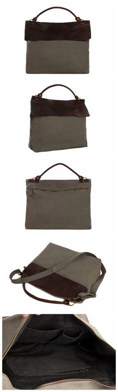 Moshi Wholesale Canvas Leather Tote Bag, Waxed Canvas Briefcase Messenger Bag Shoulder Bag