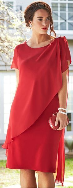 Fashion Simple Chiffon Knee-Length Mother of the Bride Dresses Mothers Dresses Jewel Custom Made Formal Evening Dresses Trendy Dresses, Plus Size Dresses, Women's Fashion Dresses, Elegant Dresses, Beautiful Dresses, Short Dresses, Fashion Clothes, Clothes Women, Jackets Fashion