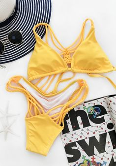 $19.99 Chicnico Hand Made Two Piece Lace Up Bikini Set