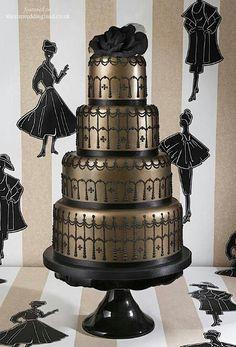 Unusual Wedding Cakes for Big Wedding Day : unusual black gold wedding cake Unusual Wedding Cakes, Italian Wedding Cakes, Black Wedding Cakes, Unique Cakes, Black Weddings, Wedding Unique, Cake Wedding, Indian Weddings, Wedding Ideas