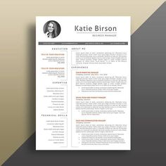 Resume With Photo, Cv Template, Professional CV Template Resume Tips, Resume Cv, Resume Design, Cv Tips, Modern Resume Template, Creative Resume Templates, Design Templates, Cover Letter Template, Letter Templates