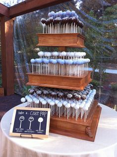 amazing wood cake pop stand   (I wish I had the ability to make this!)
