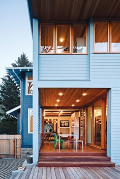 A great covered deck within a modern addition, love this space. - 'New Frontiers' Dwell