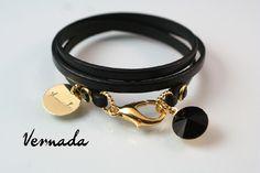 Vernada Design -kieputettava nahkakäsikoru, Swarovskeilla, musta-kulta, kapea