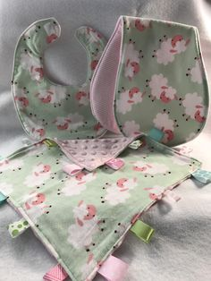 Baby Girl Gift Set, Pink and Green Lambs, Bib, Burp Cloth, Lovie by barbarajh24 on Etsy