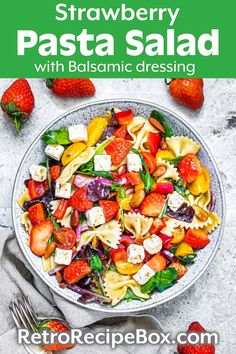 Strawberry Pasta Salad with Balsamic Dressing is light and fresh, with lots of flavor. This is a great Summer Salad, or potluck salad. Pasta salads are so nice and easy to make, with all kinds of yummy ingredients. retrorecipebox.com Potato Side Dishes, Best Side Dishes, Vegetable Side Dishes, Vegetable Recipes, Best Pasta Recipes, Healthy Salad Recipes, Easy Chicken Recipes, Delicious Recipes, Vegetarian Pasta Salad