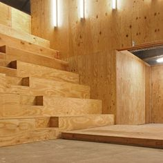 all plywood interior. Performa Hub by nOffice, New York, USA