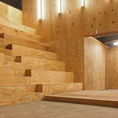all plywood interior. Performa Hub by nOffice, New York, USA