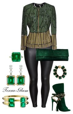 """""""Emerald Queen"""" by terra-glam ❤ liked on Polyvore featuring H&M, Versace, Jemma Wynne, Eddie Borgo and CARAT*"""