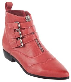 """Alias Mae """"Bronti"""" Pointed-Toe Buckle Booties in red (Tabitha Simmons Early look-a-likes)"""