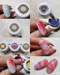 No photo description available. Simple Gel Nails, Subtle Nails, Marble Nail Art, Painted Nail Art, Nail Art Techniques, Japanese Nail Art, Nail Patterns, Hot Nails, Fabulous Nails