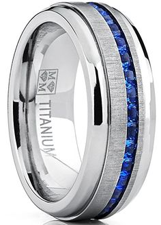 Men's Titanium Wedding Band Engagement Ring W/ Blue Simulated Sapphire Cubic Zirconia Princess CZ 7