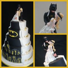 Batman Wedding Cake-This cake was made for a dear friends niece last Easter weekend. I was thrilled when she came to me with the ideas ( so I can't fully take the credit for all of the actual design as it was a combination of a few pictures she showed me then I just...