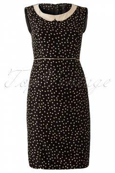 Fever - 40s Eton Polkadot Dress in Black and Cream