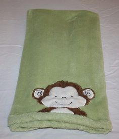 Tiddliwinks GREEN MONKEY FACE SOFT Baby Blanket Brown Cream SECURITY LOVEY Plush #Tiddliwinks