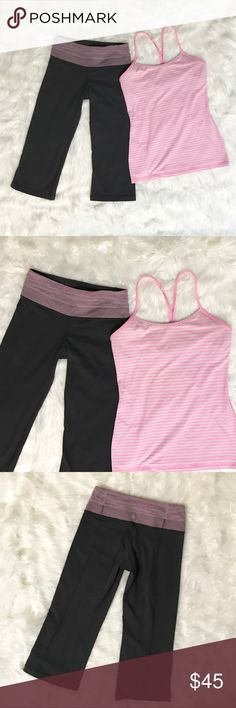 Lululemon Bundle: Power Y Tank & Reversible Crops Lululemon bundle of a size 8 pink/white striped Power Y Tank in excellent condition with no piling or fading. The grey Reversible crops are in excellent condition and hit right below the knee, they are a size 4! I can separate the items, just ask!! I personally like my tops looser/larger than my bottoms. Price is Flexible!! Offers are welcome! Bundle Offers are very welcome 😊👍🏼 lululemon athletica Tops