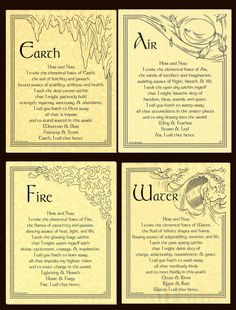 Wiccan Rede, Wiccan Spells, Magick, Pagan Altar, Witch Spell Book, Witchcraft Spell Books, Earth Air Fire Water, 4 Elements, Elemental Powers