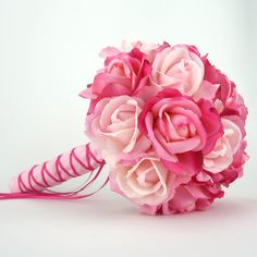 Bridal Bouquet Pink Real Touch Roses Silk Wedding Flowers Light Hot Pink. $110.00, via Etsy.