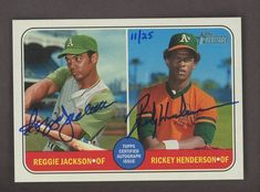 2018 Topps Heritage Real One Reggie Jackson Rickey Henderson A's AUTO 11/25 Rickey Henderson, Reggie Jackson, Real One, Trading Cards, Baseball Cards, Collector Cards
