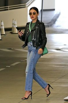Check out the latest photos of celebrity high street style fashion Lucy Hale in a leather jacket and jeans at the Beverly Center in Los Angeles Lucy Hale Outfits, Lucy Hale Style, College Outfits, Winter Wardrobe, Everyday Fashion, Winter Fashion, Women's Fashion, Cool Girl, Fall Outfits