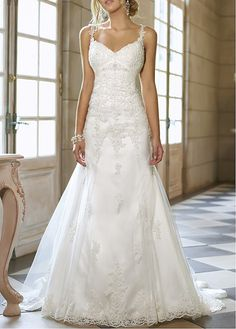$239 Striking Tulle & Satin A-line Spaghetti Strap Neckline Empire Waist Full Length Wedding Gown With Beadings