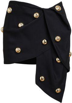 Love this: ANTHONY VACCARELLO Black Embellished Draped Miniskirt @Lyst