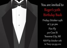 Tuxedo Adult Birthday Party Invitation for Men - Printable Suit and Tie Male Birthday Invitation - Digital
