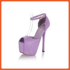 WeenFashion Women's Solid Pu Spikes Stilettos Peep Toe Buckle Sandals, Purple, 37 - Sandals for women (*Amazon Partner-Link)